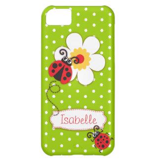 Caisse rouge de l'iphone 5 de coccinelle de filles coque iPhone 5C