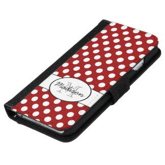 Caisse rouge foncé de portefeuille de l'iPhone 6