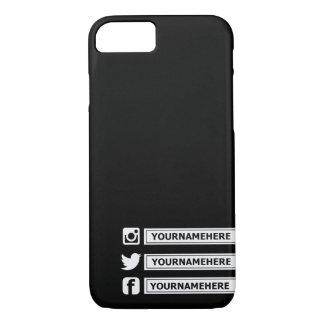 Caisse sociale personnalisable noire et blanche de coque iPhone 7