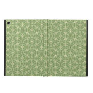 Caisse verte de dessin géométrique de feuille de protection iPad air