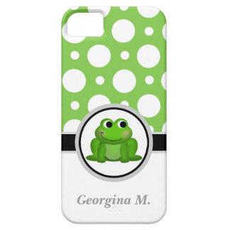 Caisse verte et blanche de Froggy de polka de poin Coques Case-Mate iPhone 5