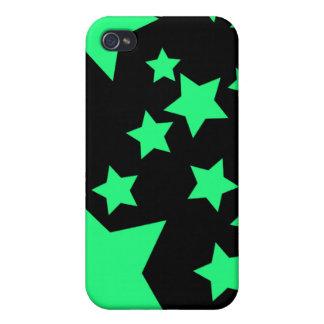 Caisse verte et noire de l'iPhone 4 d'étoiles Étuis iPhone 4