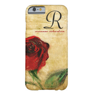 Caisse vintage de l'iPhone 6 de monogramme de rose Coque iPhone 6 Barely There