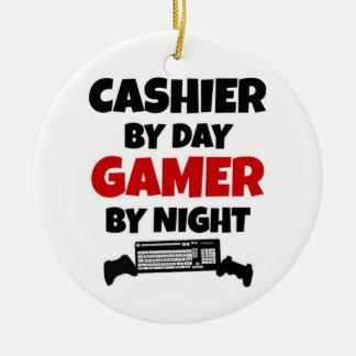 Caissier par le Gamer de jour par nuit Ornement Rond En Céramique