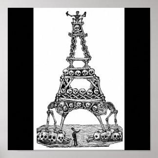 Calavera de Tour Eiffel C. 1800's en retard Poster
