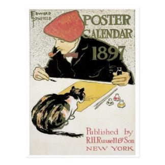Calendrier 1897 d'affiche carte postale