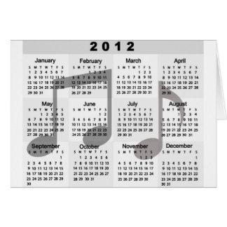 Calendrier 2012 avec la copie de notes musicales