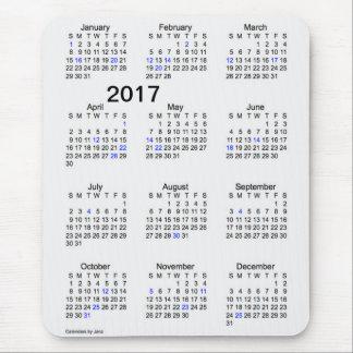 Calendrier 2017 de vacances de fumée de gros tapis de souris