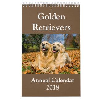 Calendrier annuel 2018 de golden retriever