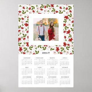 Calendrier annuel de photo de 16x24 2017 floraux poster