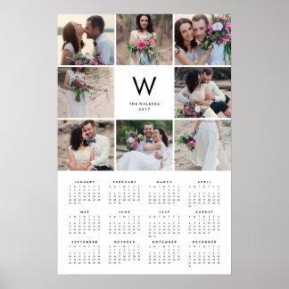 Calendrier annuel de photo du collage 16x24 2017 poster