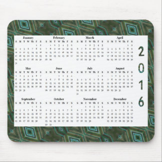 Calendrier annuel du motif 2016 vert-foncé de tapis de souris