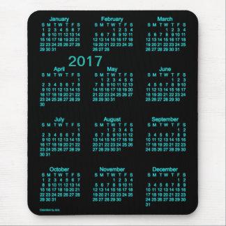 Calendrier bleu au néon des gros caractères 2017 tapis de souris