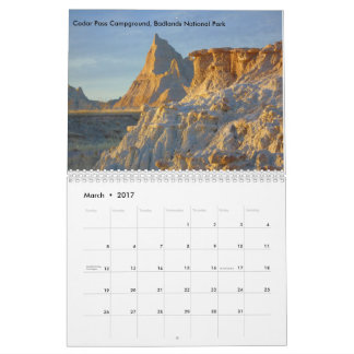 Calendrier de 2017 paysages de parc national