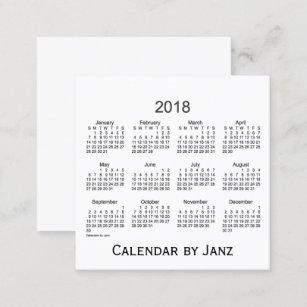 Calendrier De 2018 Blancs Par Le Carte Visite