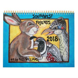 Calendrier de la faune 2018 d'animaux de sud-ouest