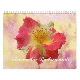Calendrier - fleurs sur des milieux