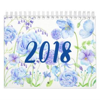 Calendrier floral 2018 de jardins d'aquarelle