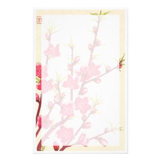 Calendrier floral de Kawarazaki Shodo de cerise du Motifs Pour Papier À Lettre