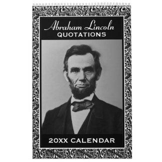 Calendrier Mural Citations d'Abe Lincoln avec la photo