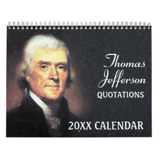 Calendrier Mural Citations de Thomas Jefferson avec la photo