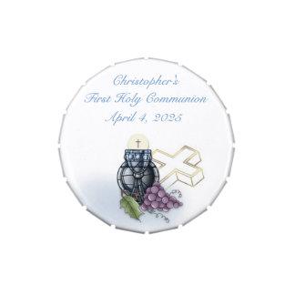 Calice bleu, croix et raisins de première boite de bonbons jelly belly