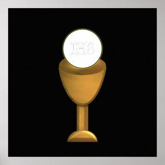 Calice et centre serveur d'or - sainte communion poster