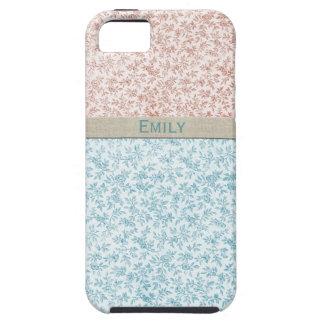 Calicot vintage bleu de rose doux de fille coques iPhone 5 Case-Mate
