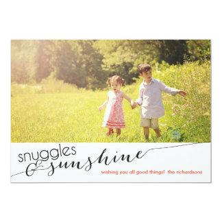 Câlins et soleil avec la photo arrière carton d'invitation  12,7 cm x 17,78 cm