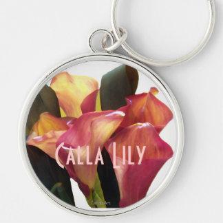 Callas roses de corail porte-clé rond argenté