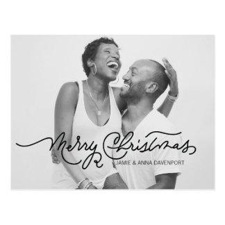 Calligraphie de carte postale de Noël noir et