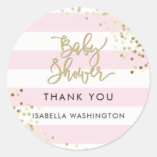 Calligraphie et confettis d'or de Merci de baby Sticker Rond