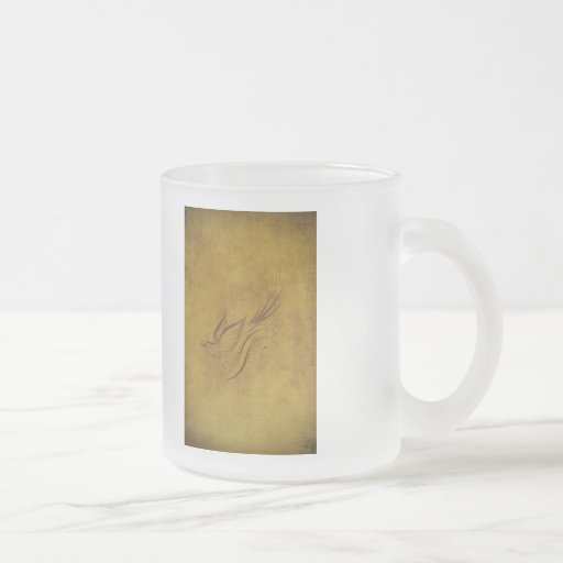 Calligraphie vintage d'oiseau sur l'or mugs