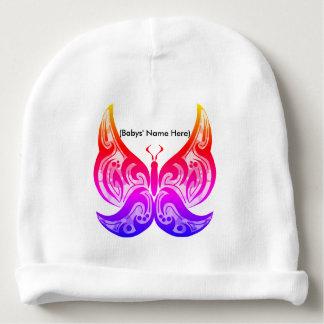 Calotte tribale de bébé de papillon - nom fait sur bonnet de bébé