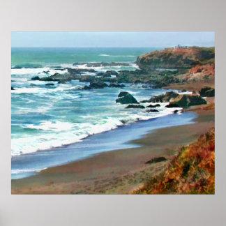 Cambria la Californie Shoreline en automne Posters