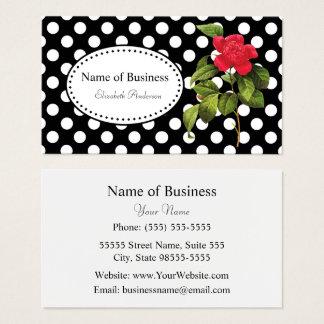 Camélia rouge chic de pois noir et blanc audacieux cartes de visite
