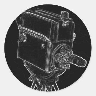 Caméra de télévision antique d'émission dans le autocollant rond