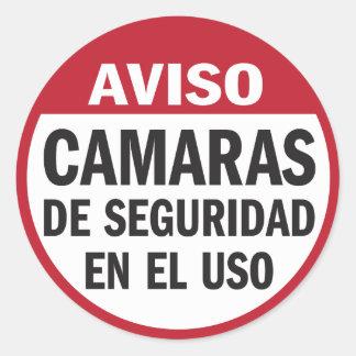 Caméras de sécurité Aviso en service dans l Espagn Autocollant Rond
