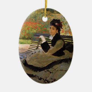 Camille Monet sur un banc de jardin - Claude Monet Ornement Ovale En Céramique