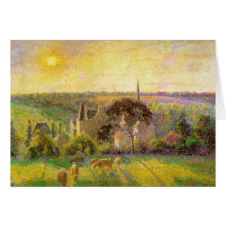Camille Pissarro- l'église et la ferme d'Eragny Carte De Vœux
