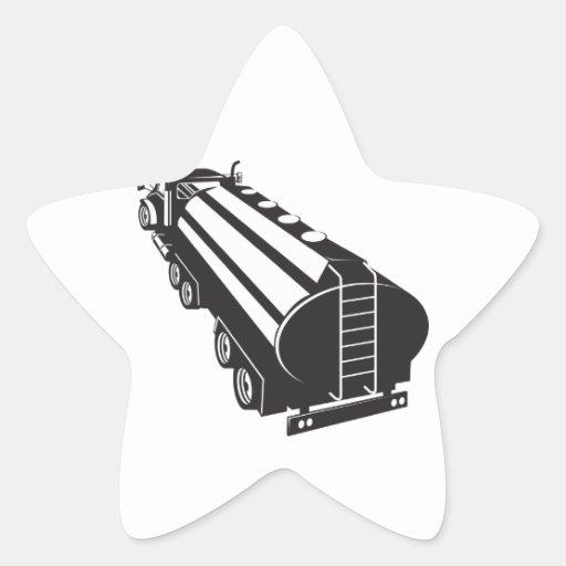 Camion-citerne aspirateur de carburant rétro autocollants en étoile