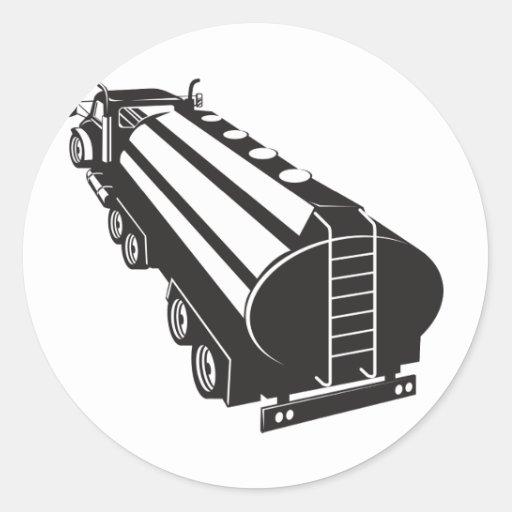Camion-citerne aspirateur de carburant rétro adhésif rond