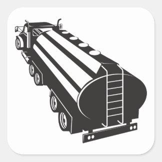 Camion-citerne aspirateur de carburant rétro sticker carré