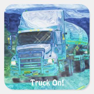 Camion-citerne aspirateur grande série sticker carré