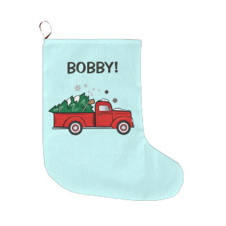 Camion de collecte classique avec l'arbre de Noël Grande Chaussette De Noël