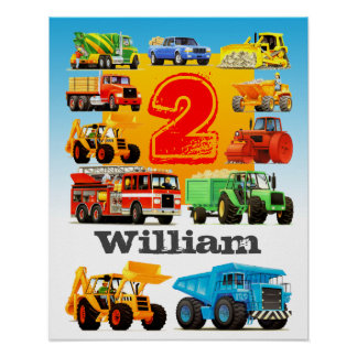Camion de construction d'anniversaire du nom et de poster