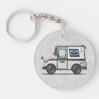 Camion de courrier mignon porte-clé rond en acrylique double face