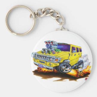 Camion de jaune de H2 de Hummer Porte-clé Rond