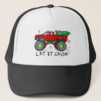 Camion de monstre avec l'arbre de Noël : Laissez Casquette Trucker