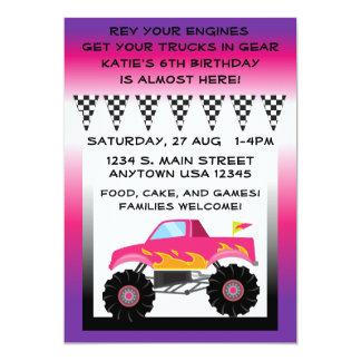 """Camion de monstre rose et pourpre 5"""" x 7"""" carton d'invitation  12,7 cm x 17,78 cm"""